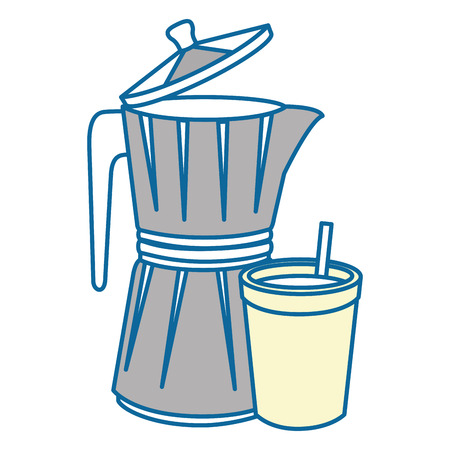 italian coffee maker icon over white background vector illustration Çizim