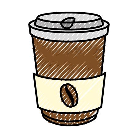흰색 배경 벡터 일러스트 레이 션을 통해 커피 컵 아이콘
