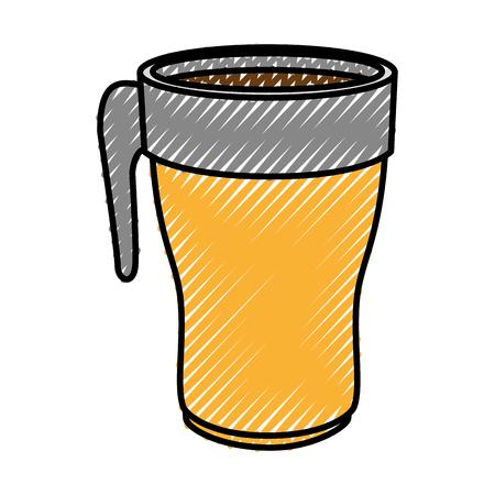 Het pictogram van de koffiedrank over witte achtergrond kleurrijke ontwerp vectorillustratie
