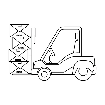 Chariot élévateur avec l'icône de boîtes sur illustration vectorielle fond blanc Banque d'images - 84231095