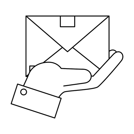 hand holding a envelope icon over white background vector illustration Ilustracja