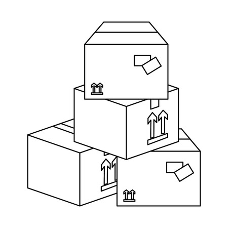 carton boxes icon over white background vector illustration