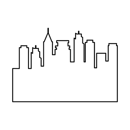 city buildings silhouette icon over white background vector illustration Иллюстрация