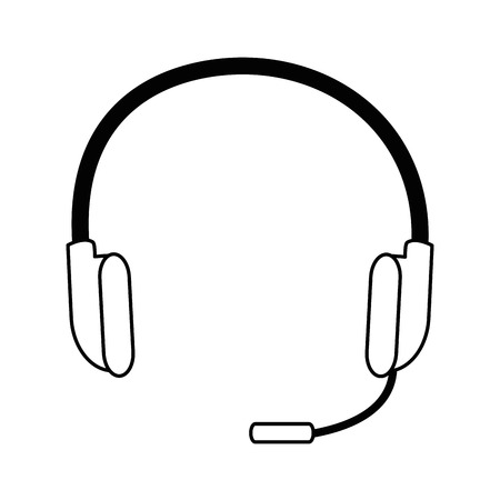 headset icon over white background vector illustration