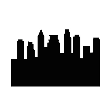 City buildings silhouette icon over white background vector illustration Çizim