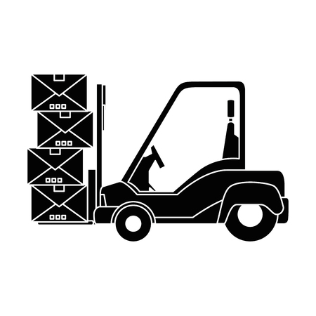 Forklift truck with boxes icon over white background vector illustration