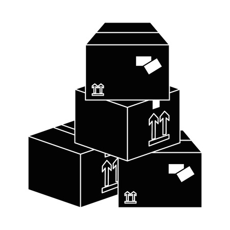 Carton boxes icon over white background vector illustration Illustration