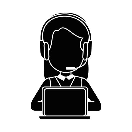 白い背景のベクトル図をヘッドセットとラップトップのコンピューター アイコンを持つ女性