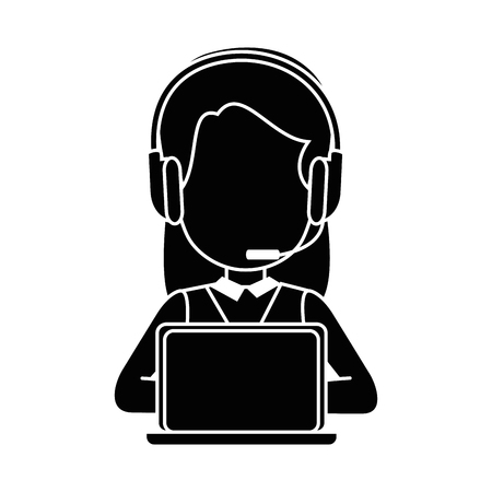 Woman with headset and laptop computer icon over white background vector illustration