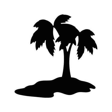 Tropical palm icon over white background vector illustration