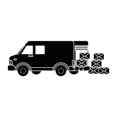 Cargo truck with carton boxes icon over white background vector illustration