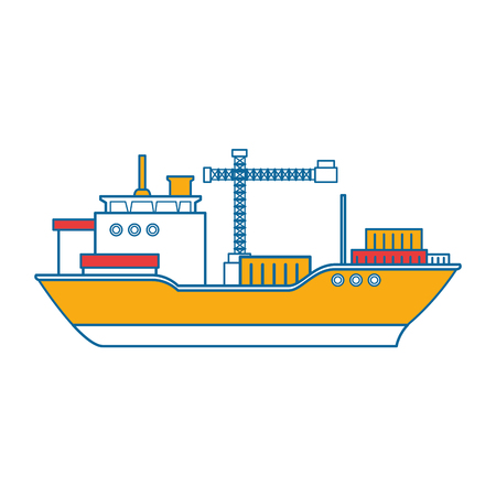 cargo ship icon over white background vector illustration