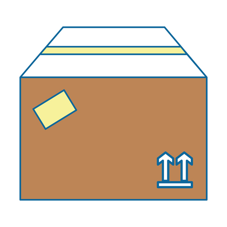 Carton box icon over white background vector illustration Çizim