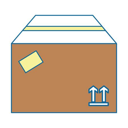 Carton box icon over white background vector illustration Illustration