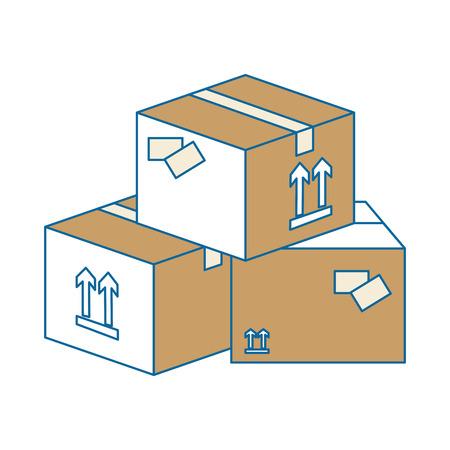Carton boxes icon over white background vector illustration Illustration