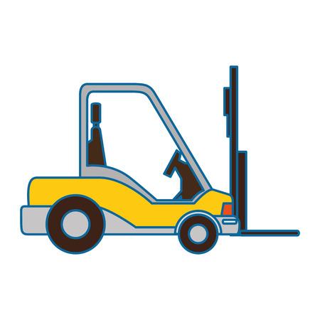 白い背景のベクトル図をフォーク リフト トラック アイコン