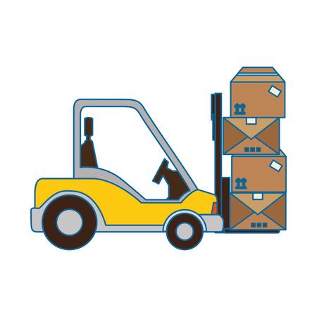 Chariot élévateur icône sur fond blanc illustration vectorielle Banque d'images - 84230957