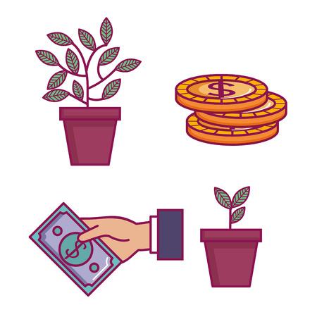 crowdfunding pictogrammen instellen met idee schenkingen vector illustratie