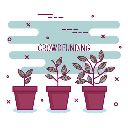 crowdfunding sponsor project verhogen samenwerking vectorillustratie