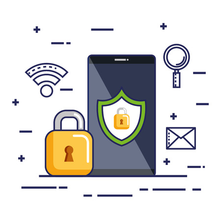 mobile phone security technology protection online vector illustration