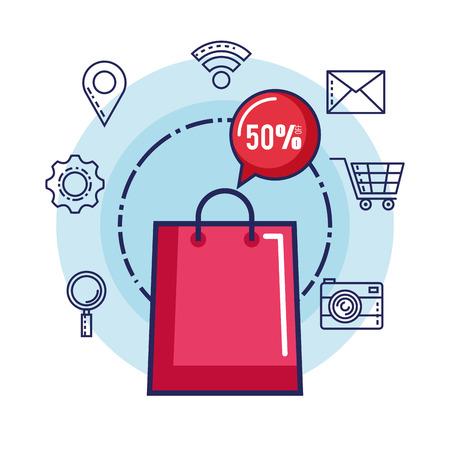 shopping online smart phone discount ecommerce vector illustration Stock Vector - 84220555