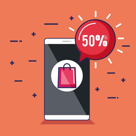 winkelen online slimme telefoon korting e-commerce vectorillustratie