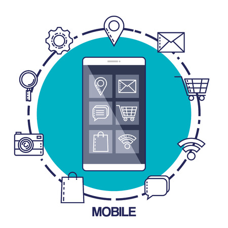 mobile marketing commerce electronic concept vector illustration Banco de Imagens
