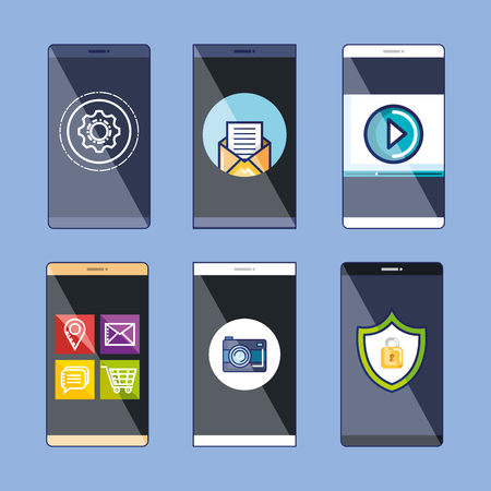 collection mobile web applications and services icons elements vector illustration
