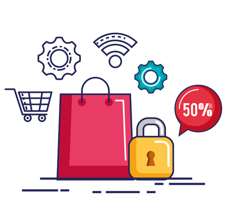 online shopping security discount offer vector illustration