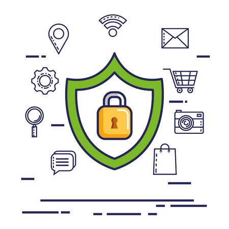 security symbol: mobile internet security technology digital vector illustration Illustration