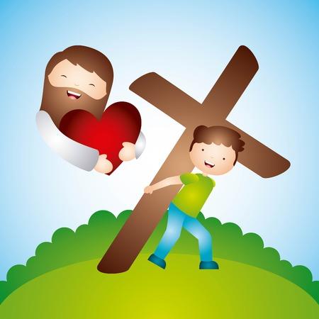 Diseño del amor católico, ilustración vectorial Foto de archivo - 84443241
