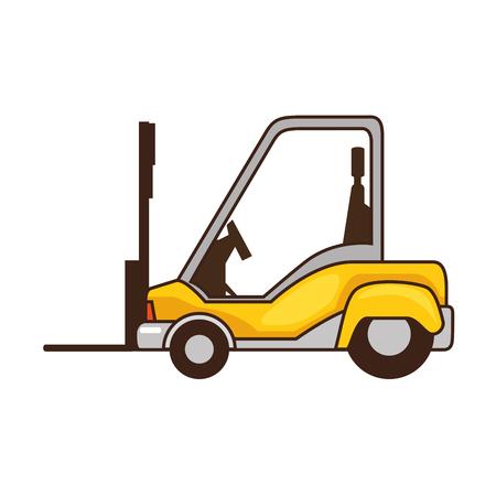 Icône de camion chariot élévateur sur illustration vectorielle fond blanc Banque d'images - 84524311