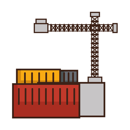 containers and industrial crane icon over white background vector illustration Illustration