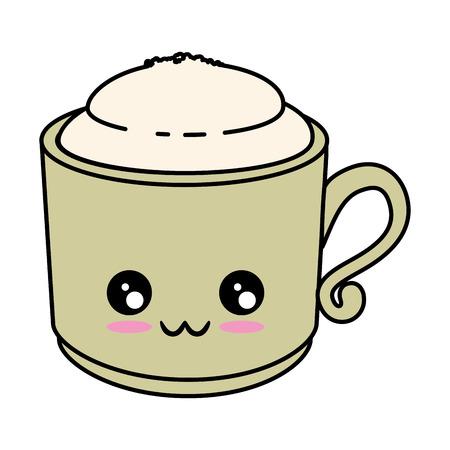 Delicious coffee mug cute cartoon Vector ilustration