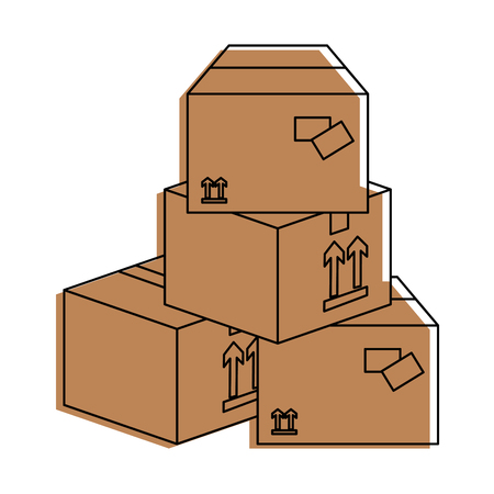 Delivery boxes piled up icon vector illustration graphic Çizim