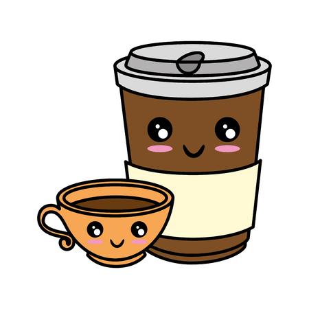 Coffee to go cute cartoon Vector ilustration