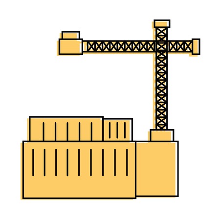 containers and industrial crane icon over white background vector illustration Ilustração