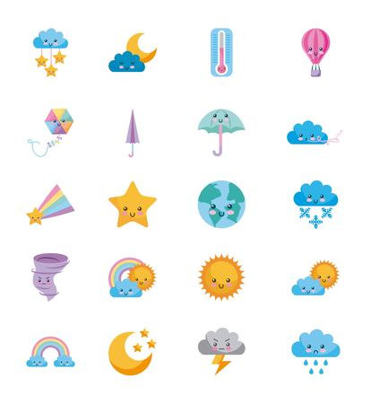 icon set Climate objects cartoon vector illustration design graphic
