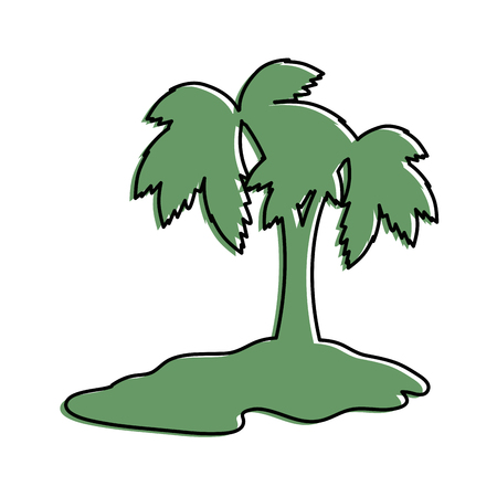 tropical palm icon over white background vector illustration Illusztráció
