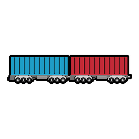 freight train: wagon loaded icon over white background vector illustration