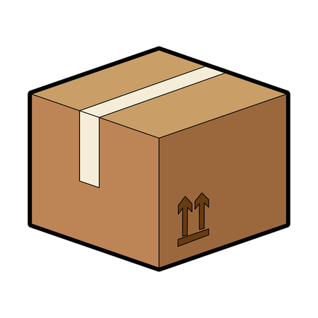 carton box icon over white background vector illustration