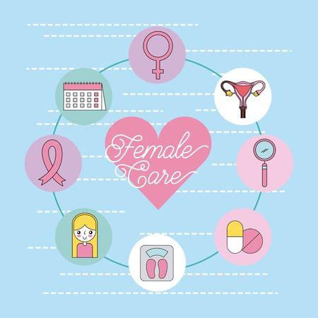 female care important icon vector cartoon illustration design graphic