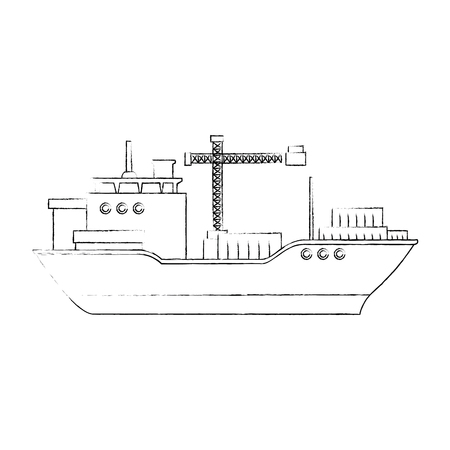 cargo ship icon over white background vector illustration