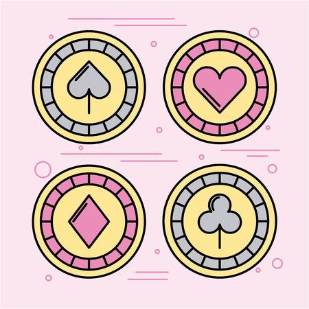 icon set Casino bets open vector illustration design graphic