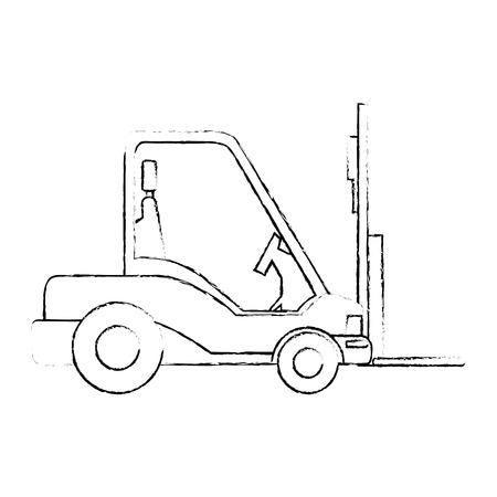 forklift truck icon over white background vector illustration