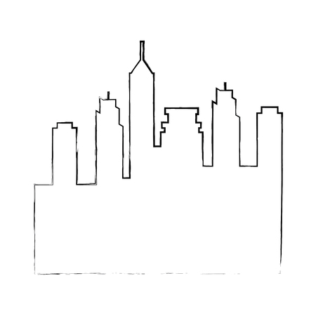 silhouette of urban city icon over white background vector illustration