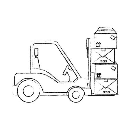 Chariot élévateur icône sur fond blanc illustration vectorielle Banque d'images - 84528242