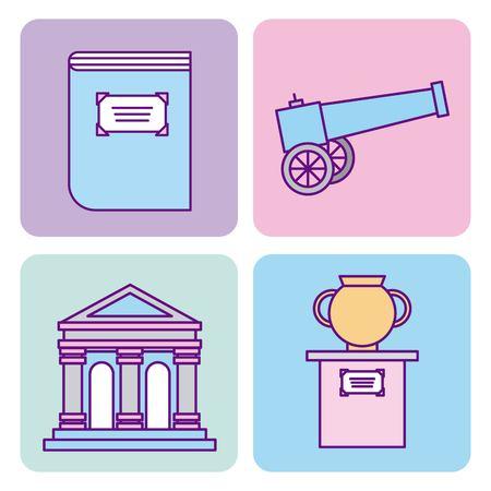 icon set history museum vector illustration design graphic