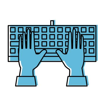 hands and keyboard device icon over white background vector illustration Reklamní fotografie - 84528365