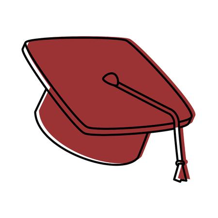白の背景ベクトルイラストの上に卒業キャップアイコン